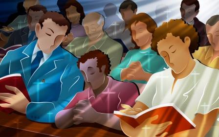 Familia orando ao Senhor